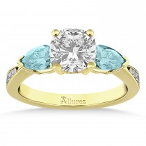 Cushion Diamond & Pear Aquamarine Engagement Ring 18k Yellow Gold (1.29ct)