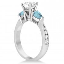 Cushion Diamond & Pear Aquamarine Engagement Ring in Palladium (1.29ct)