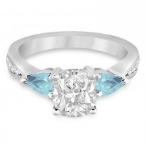 Cushion Diamond & Pear Aquamarine Engagement Ring in Palladium (1.29ct)