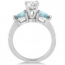 Cushion Diamond & Pear Aquamarine Engagement Ring in Platinum (1.29ct)