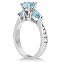 Diamond & Pear Cut Aquamarine Engagement Ring 14k White Gold (1.79ct)