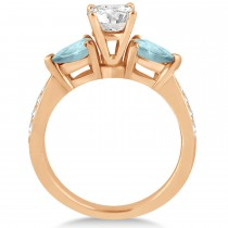 Round Diamond & Pear Aquamarine Engagement Ring 14k Rose Gold (1.79ct)