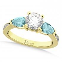 Round Diamond & Pear Aquamarine Engagement Ring 14k Yellow Gold (1.79ct)
