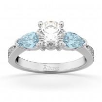 Round Diamond & Pear Aquamarine Engagement Ring in Platinum (1.79ct)