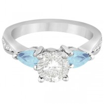 Diamond & Pear Aquamarine Engagement Ring 14k White Gold (0.79ct)