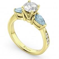 Diamond & Pear Aquamarine Engagement Ring 14k Yellow Gold (0.79ct)