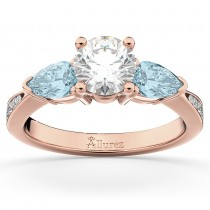 Diamond & Pear Aquamarine Engagement Ring 18k Rose Gold (0.79ct)