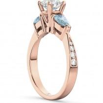 Diamond & Pear Aquamarine Engagement Ring 18k Rose Gold (0.79ct)