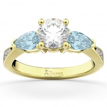 Diamond & Pear Aquamarine Engagement Ring 18k Yellow Gold (0.79ct)