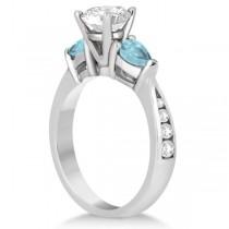 Diamond & Pear Aquamarine Engagement Ring Platinum (0.79ct)