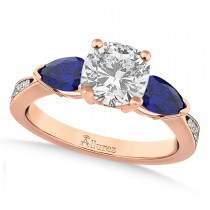 Cushion Diamond & Pear Blue Sapphire Engagement Ring 14k Rose Gold (1.29ct)