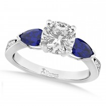 Cushion Diamond & Pear Blue Sapphire Engagement Ring 18k White Gold (1.29ct)