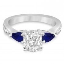 Cushion Diamond & Pear Blue Sapphire Engagement Ring 18k White Gold (1.29ct)