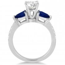 Cushion Diamond & Pear Blue Sapphire Engagement Ring in Platinum (1.29ct)