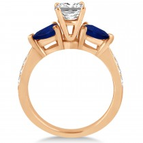 Princess Diamond & Pear Blue Sapphire Engagement Ring 18k Rose Gold (1.29ct)