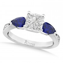 Princess Diamond & Pear Blue Sapphire Engagement Ring 18k White Gold (1.29ct)