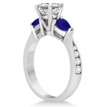 Princess Diamond & Pear Blue Sapphire Engagement Ring 18k White Gold (1.29ct)
