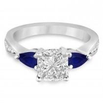Princess Diamond & Pear Blue Sapphire Engagement Ring in Palladium (1.29ct)