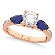Round Diamond & Pear Blue Sapphire Engagement Ring 14k Rose Gold (1.29ct)