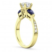 Round Diamond & Pear Blue Sapphire Engagement Ring 14k Yellow Gold (1.29ct)