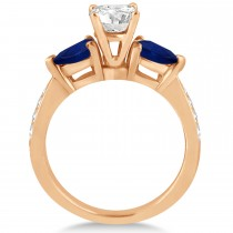 Round Diamond & Pear Blue Sapphire Engagement Ring 18k Rose Gold (1.29ct)