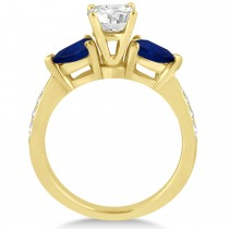 Round Diamond & Pear Blue Sapphire Engagement Ring 18k Yellow Gold (1.29ct)