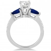 Round Diamond & Pear Blue Sapphire Engagement Ring in Platinum (1.29ct)