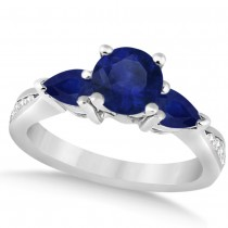 Diamond & Pear Blue Sapphire Engagement Ring 14k White Gold (1.79ct)