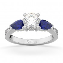 Round Diamond & Pear Blue Sapphire Engagement Ring 14k White Gold (1.79ct)
