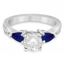 Round Diamond & Pear Blue Sapphire Engagement Ring 14k White Gold (1.79ct)