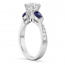 Round Diamond & Pear Blue Sapphire Engagement Ring 18k White Gold (1.79ct)