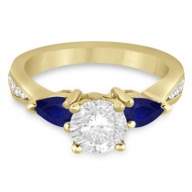 Round Diamond & Pear Blue Sapphire Engagement Ring 18k Yellow Gold (1.79ct)
