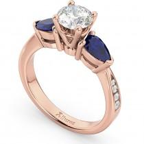 Diamond & Pear Blue Sapphire Engagement Ring 14k Rose Gold (0.79ct)