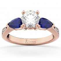 Diamond & Pear Blue Sapphire Engagement Ring 18k Rose Gold (0.79ct)
