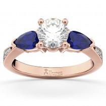 Diamond & Pear Blue Sapphire Engagement Ring 18k Rose Gold (0.79ct)