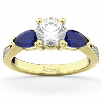 Diamond & Pear Blue Sapphire Engagement Ring 18k Yellow Gold (0.79ct)
