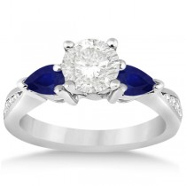 Diamond & Pear Blue Sapphire Engagement Ring Platinum (0.79ct)