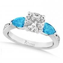 Cushion Diamond & Pear Blue Topaz Engagement Ring 14k White Gold (1.29ct)