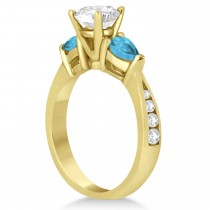 Cushion Diamond & Pear Blue Topaz Engagement Ring 14k Yellow Gold (1.29ct)