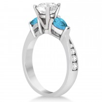 Cushion Diamond & Pear Blue Topaz Engagement Ring 18k White Gold (1.29ct)