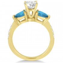 Cushion Diamond & Pear Blue Topaz Engagement Ring 18k Yellow Gold (1.29ct)