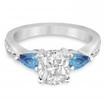 Cushion Diamond & Pear Blue Topaz Engagement Ring in Platinum (1.29ct)
