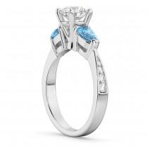 Round Diamond & Pear Blue Topaz Engagement Ring 14k White Gold (1.79ct)