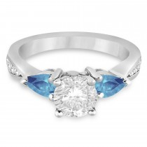 Round Diamond & Pear Blue Topaz Engagement Ring 14k White Gold (1.79ct)