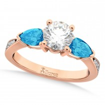 Round Diamond & Pear Blue Topaz Engagement Ring 18k Rose Gold (1.79ct)