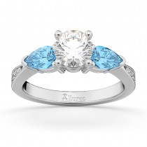 Round Diamond & Pear Blue Topaz Engagement Ring 18k White Gold (1.79ct)