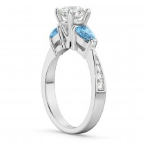 Round Diamond & Pear Blue Topaz Engagement Ring in Palladium (1.79ct)