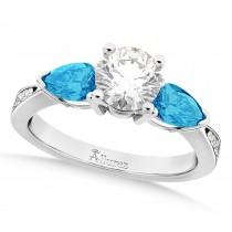 Round Diamond & Pear Blue Topaz Engagement Ring in Platinum (1.79ct)