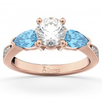 Diamond & Pear Blue Topaz Engagement Ring 14k Rose Gold (0.79ct)
