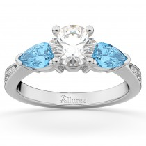 Diamond & Pear Blue Topaz Engagement Ring 14k White Gold (0.79ct)